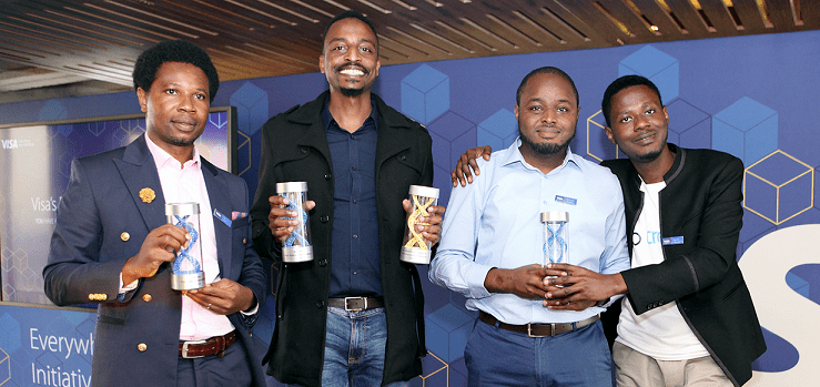 Winners of Visa's Everywhere Initiative in Sub Saharan Africa: Jerry Oche, Founder and CEO of Zowasel, on the left, winner of Financial Inclusion Challenge; Eric Thimba, Co-founder and CEO of Mookh Africa, winner of Social Business Payments Challenge and overall winner and Mofehintolu Olaogun, CEO of CredPal, winner of Merchant Payments Challenge Photo credit: Visa
