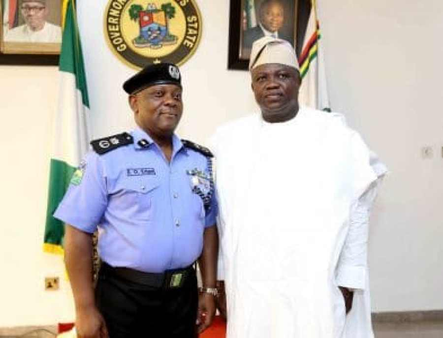 Edgal Imohinmi, the Lagos State Commissioner of Police, seen on the left in photo with Akinwunmi Ambode, Governor of Lagos State, has ordered the reinstatement of the CAPDAN President in his intervention in the leadership crisis at the largest technology market in Nigeria located in Ikeja, Lagos.