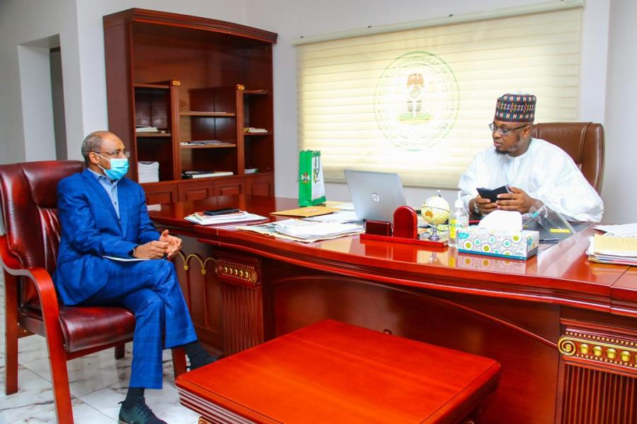 Engineer Aliyu Aziz Abubakar, Director-General of National Identity Management Commission (NIMC), on the left and  Dr Isa Pantami, Communications and Digital Economy Minister seen in the latter's office in Abuja, according to the social media posts reviewed by Technology Times.