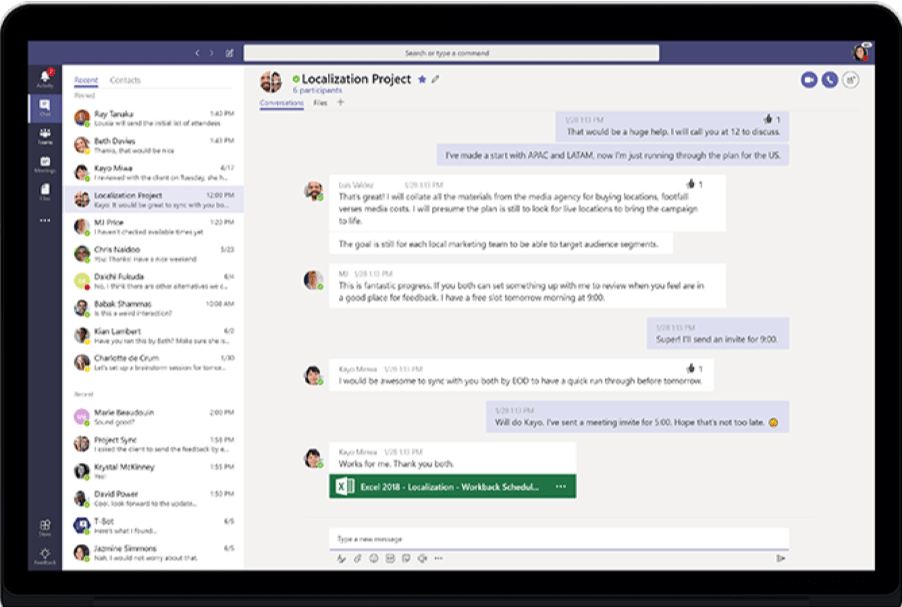 L'interface de Microsoft Teams.