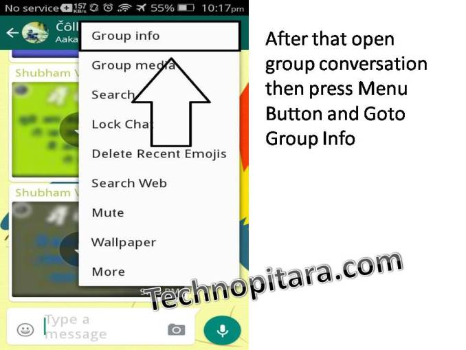 After that open group conversation then press Menu Button and Goto Group Info