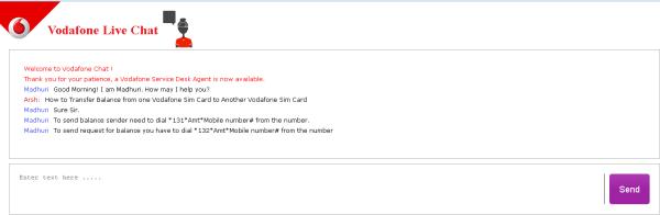 Vodafone live chat service