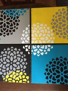 Stenciled Canvas Painting Idea for Kids