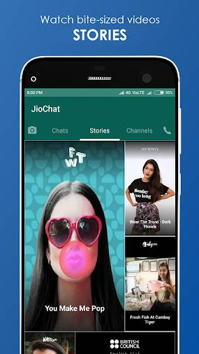Bite-Sized Video Stories of Brand in Jio Chat