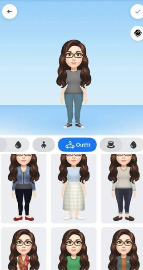 Select outfit option in Facebook Avatar Creator