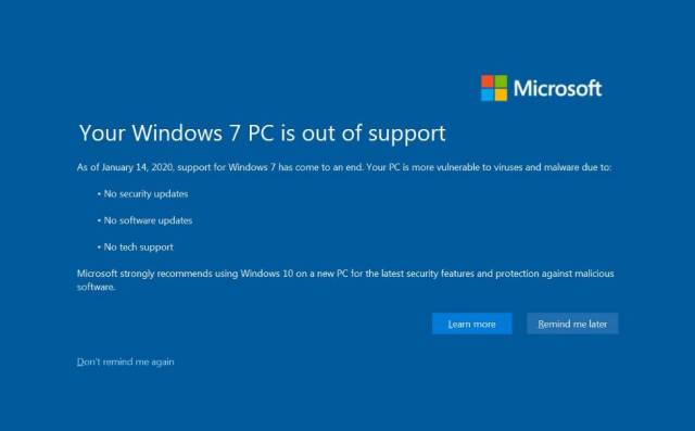 Windows 7 security program ended by Microsoft