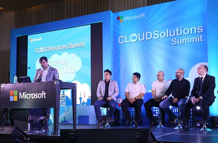 Herns Hermida, Microsoft Philippines Cloud & Enterprise Business Lead moderates the panel discussion at the Cloud Solutions Summit with (left to right): Brian Perry Ortañez, Systems Engineer, Fortinet; Dr. Ryan Bañez, Chief Medical Informatics Officer of Health Informatics; Dindo Fernando, Senior Channel Manager, Microsoft Philippines; Lars Jeppesen, CEO and co-founder Tech One Global and David Mould, Chief Digital Advisor, Microsoft Consulting Services