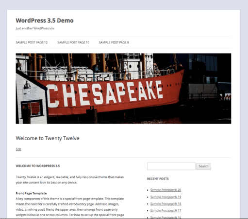 WordPress Twenty Twelve default theme