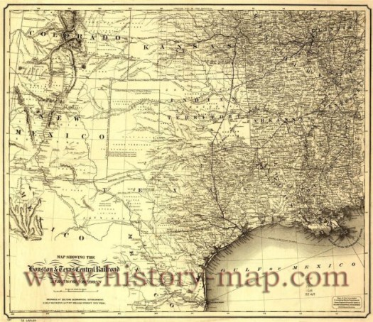 Houston and Texas Central Railroad Map