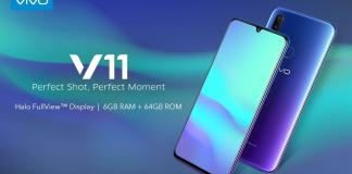 Vivo V11 : Specifications, Launch, Price and Availability.