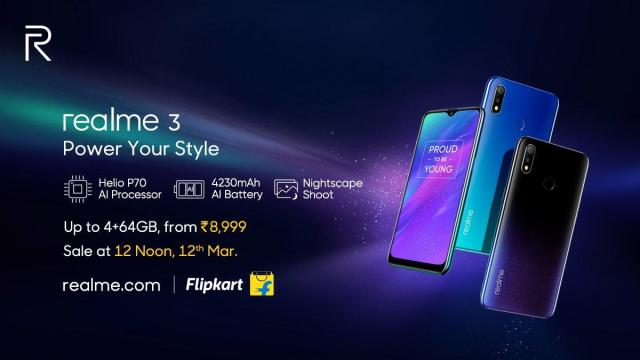 Realme 3 : Launched in India, price starting from Rs.8,999.