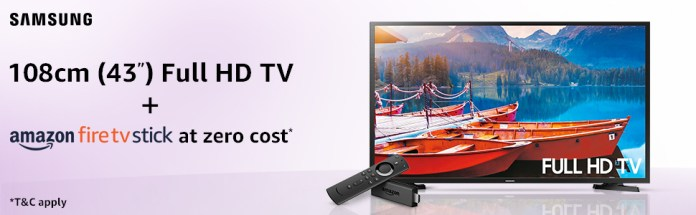 Buy a Samsung 43-inch TV along with Amazon Fire TV Stick only at Rs.29,999