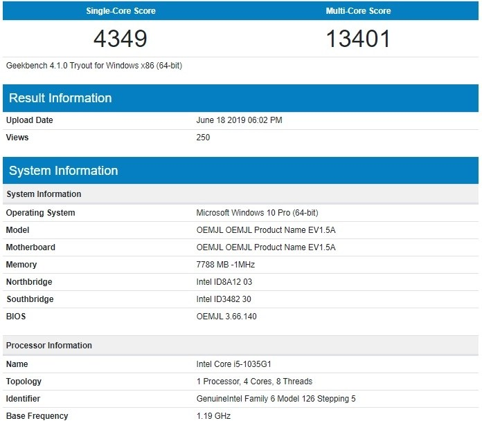 Microsoft Surface spotted on Geekbench with 10th Gen Intel Ice Lake CPUs