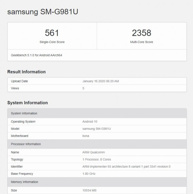 Samsung Galaxy S20 5G with 12 GB RAM & Snapdragon 865 spotted on Geekbench