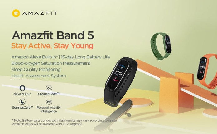 Amazfit Band 5 with SpO2 sensor and Amazon Alexa support now available on Amazon at $49.99