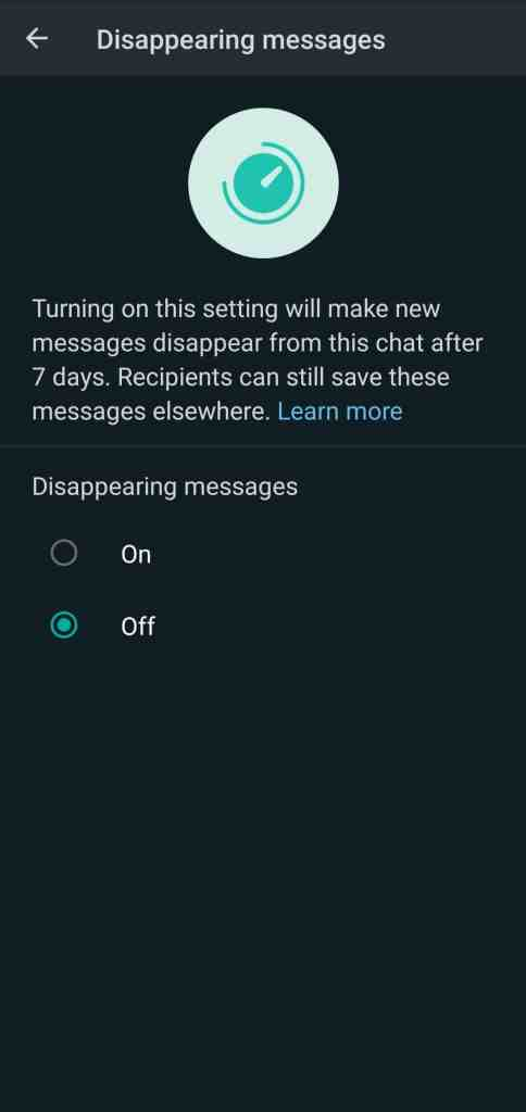 WhatsApp Disappearing Message Step 2_TechnoSports.co.in
