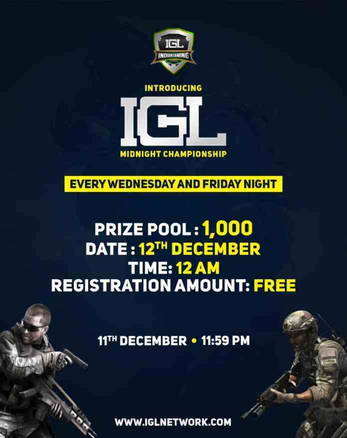 "Indian Gaming League (IGL), the first Esports Gaming Company to host ""Midnight Championship"" from 12th December 2020 onwards"