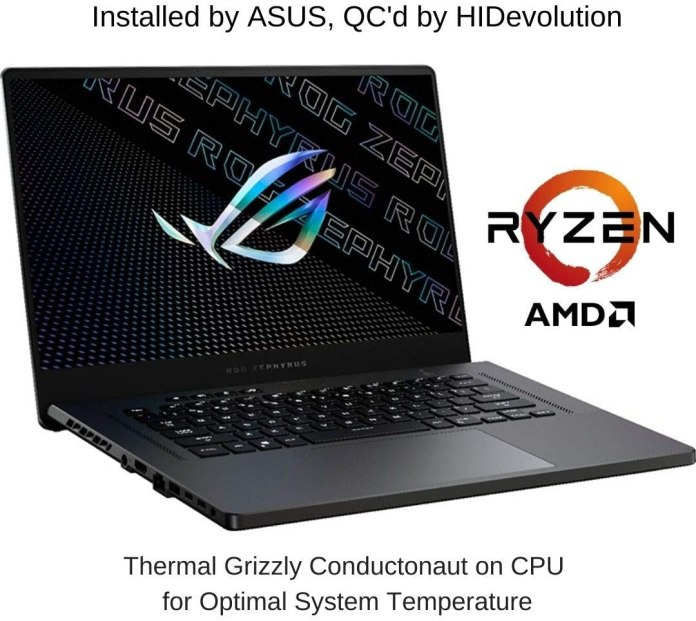 HIDevolution's ROG Zephyrus G15 with up to Ryzen 9 5900HS & RTX 3070 available on Amazon
