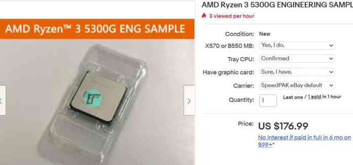 AMD Ryzen 3 5300G - The first Zen 3 based quad-core APU ends up on eBay for $177