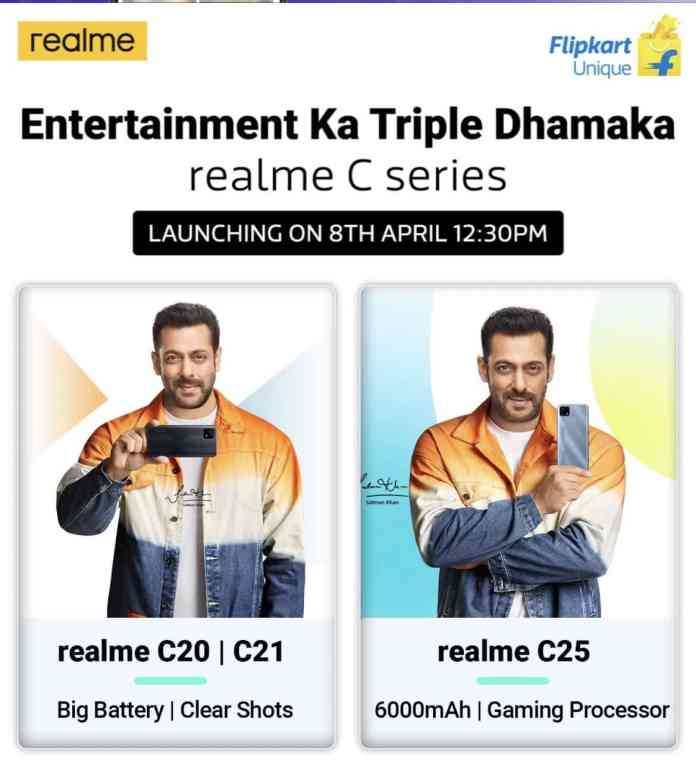 Realme C20, C21, and C25 launch date in India is scheduled on April 8