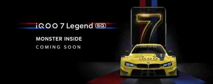 iQOO India officially confirms the launch of iQOO 7 Legend along with some Altered Specifications