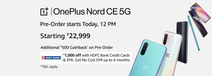OnePlus Nord CE 5G First Sale starts at 12 PM on 11th July   Priced at Rs.22,999   Offers