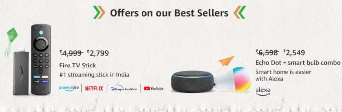 Offers on Best Selling Amazon Fire and Echo products during Amazon Great Freedom Festival