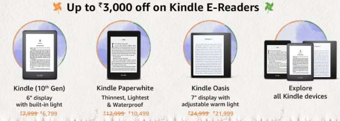 Best Deals on Amazon Kindle E-readers during Amazon Great Freedom Festival