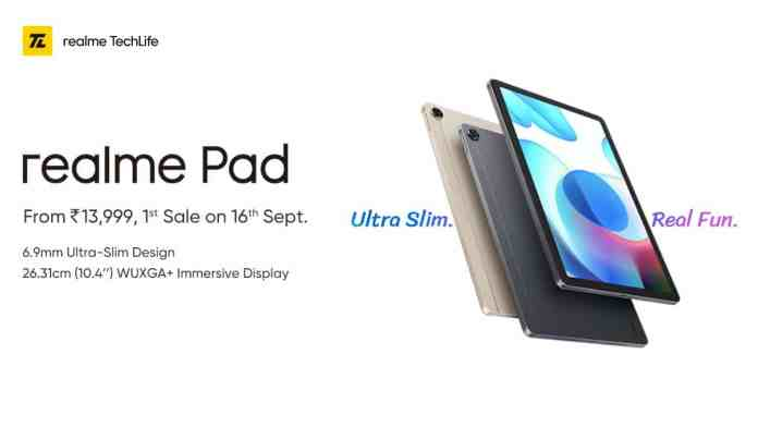 Realme Pad is announced in India starting at just Rs.13,999