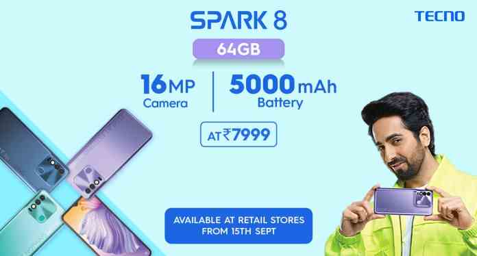 Tecno Spark 8 launched with a 5,000mAh battery, and 16MP dual-camera setup in India