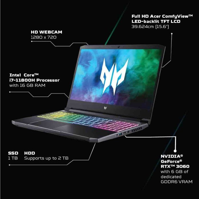 Acer Predator Helios 300 gaming laptop with up to Core i7-11800H & RTX 3060 available for ₹129,999