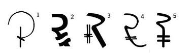 Shortlisted designs for the Indian Rupee symbol