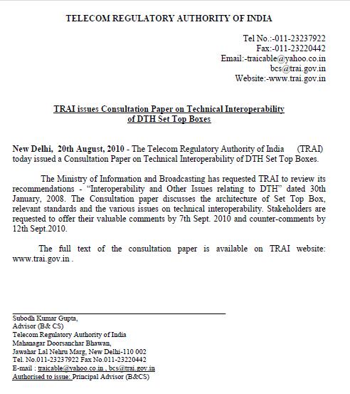 TRAI DTH Comments sep0710