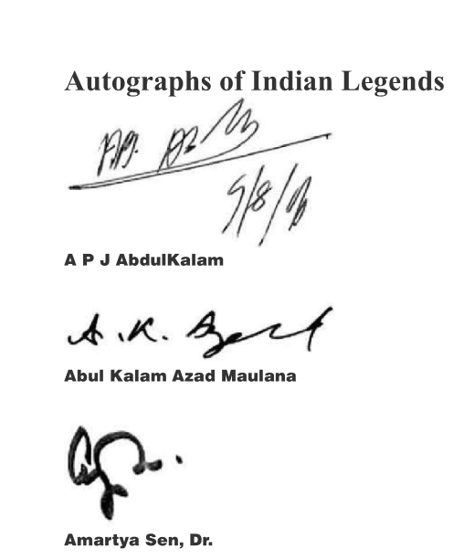 Signatures Autographs Indian legends