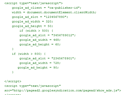 Adsense Code with Screen Size Detection