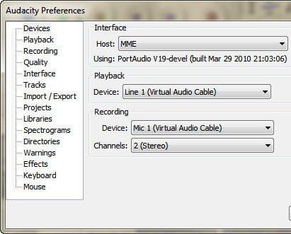 Audacity Recording Preferences