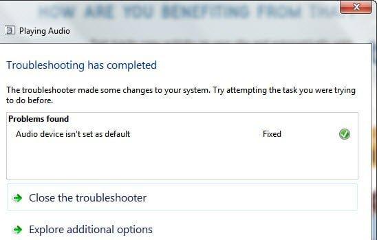 Audio Device set to default in Windows 7