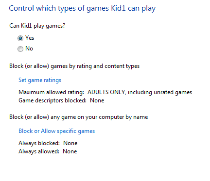 Control games option for kids
