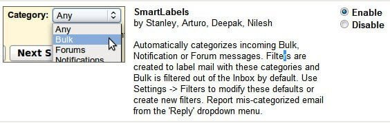 Disable Smart Labels from Gmail Labs