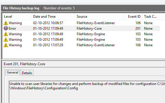 File History Error Logs
