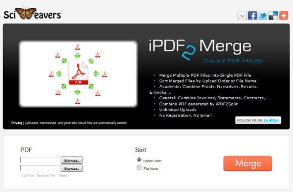 Free online tool to Merge two PDF files in one