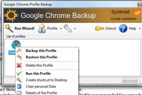 GCB Chrome Backup Tool Options