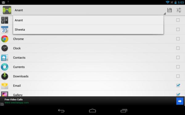 Google App sharing on Nexus 7