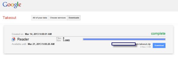 Google Reader Takeout Download