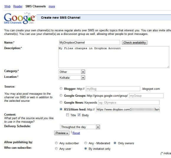 Google SMS Channel Feed