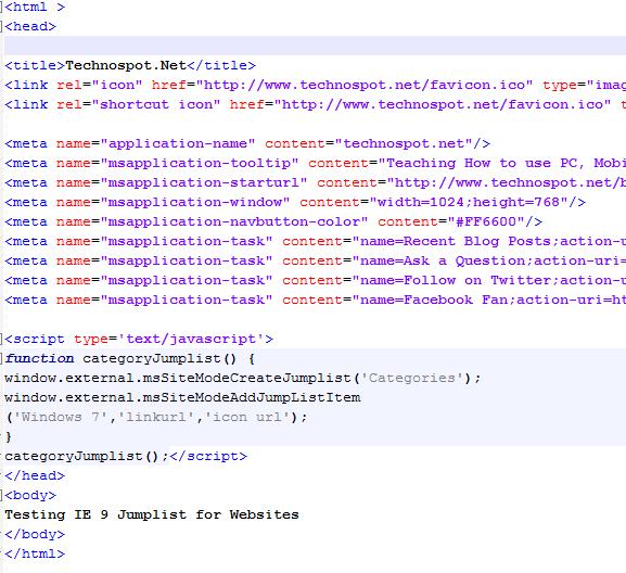 IE 9 Meta Tags for Jumplist