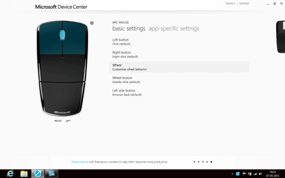 Microsoft Device Center Mouse Settings