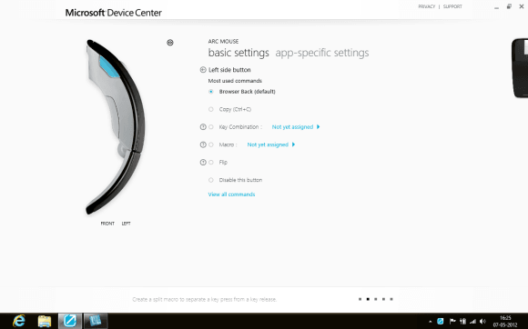 Microsoft Device Center Settings