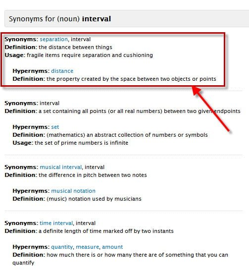 Online resource for finding the Synonyms of a Word Results for word Interval