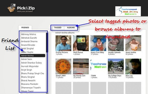 Online tool to download tagged Photos or album from Facebook